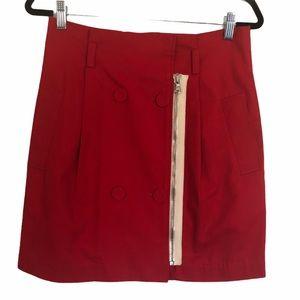 3.1 Phillip Lim Red Contrast Zip Cotton Skirt, Sz6